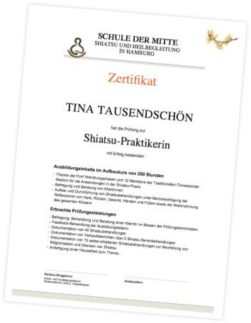 Zertifikat Shiatsu Aufbaukurs