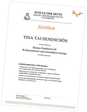 Zertifikat Shiatsu Grundausbildung