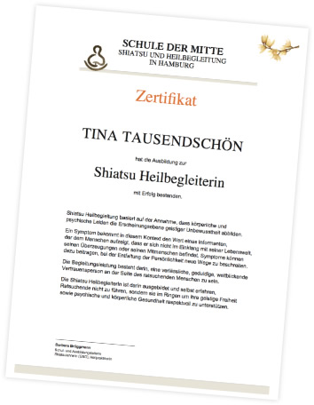 Zertifikat Shiatsu Heilbegleiterin